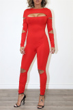 Red Fashion Casual Solid Hollowed Out Split Joint Zipper O Neck Skinny Jumpsuits