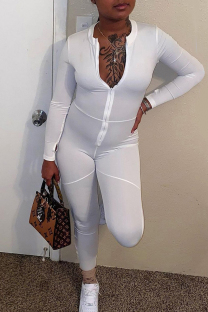 White Fashion Casual Solid Split Joint Zipper Collar Skinny Jumpsuits