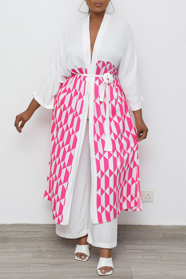 White Casual Geometric Print Split Joint With Belt Outerwear