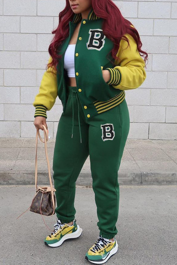 Green Fashion Casual Patchwork Letter Cardigan Long Sleeve Two Pieces