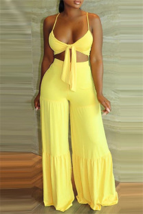 Yellow Sexy Casual Solid Backless Spaghetti Strap Sleeveless Two Pieces