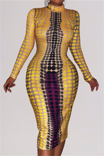 Yellow Fashion Casual Print Basic Turtleneck Long Sleeve Dresses