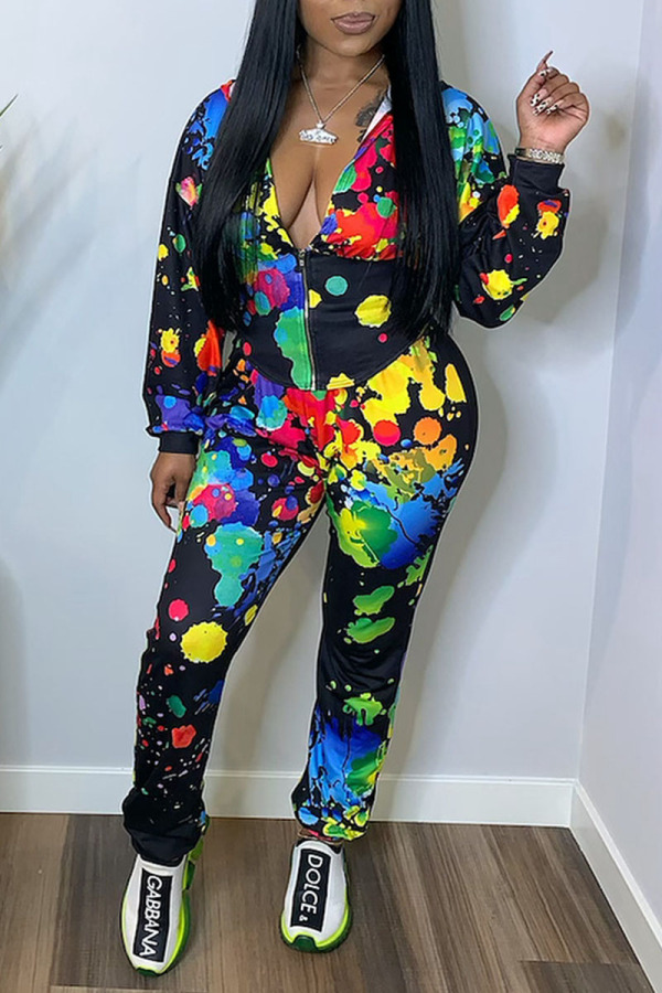Black Casual Print Graffiti Split Joint Zipper Hooded Collar Long Sleeve Two Pieces