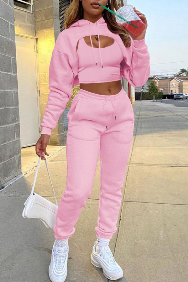 Pink Casual Street Solid Split Joint Hooded Collar Long Sleeve Three Pieces