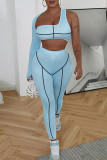 Blue Sexy Sportswear Patchwork Hollowed Out Backless Asymmetrical One Shoulder Long Sleeve Two Pieces