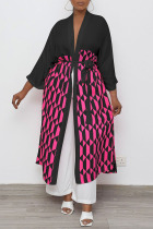 Black Casual Geometric Print Split Joint With Belt Outerwear