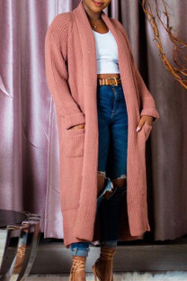 Pink Fashion Casual Solid Split Joint Outerwear