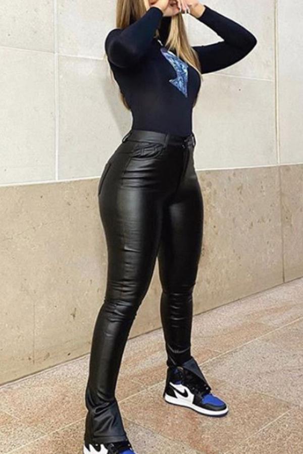 Black Fashion Casual Solid Slit Regular High Waist Trousers
