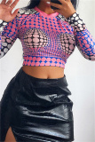 Pink Fashion Casual Print Basic O Neck Tops