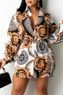 Multicolor Fashion Casual Print Basic Turndown Collar Long Sleeve Shirt Dress (Without Belt)