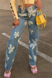 Blue Fashion Casual Print Basic High Waist Straight Denim Jeans