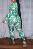 Green Sexy Print Split Joint V Neck Long Sleeve Two Pieces