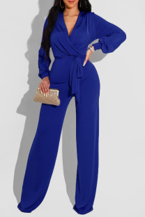 Blue Casual Solid Bandage Split Joint V Neck Straight Jumpsuits