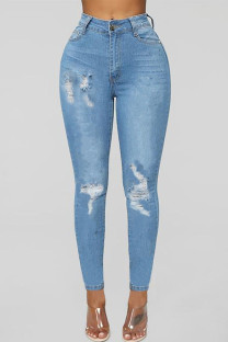 Baby Blue Fashion Casual Solid Ripped High Waist Skinny Denim Jeans