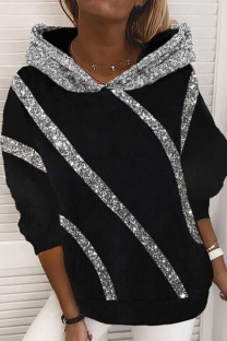 Black Casual Street Split Joint  Sequins Hooded Collar Tops