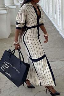 Cream White Casual Striped Print Split Joint Buckle Turndown Collar Shirt Dress Dresses