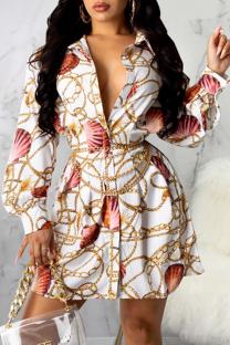 Multicolor Casual Print Split Joint Turndown Collar Waist Skirt Dresses