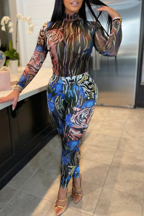 Blue Fashion Casual Print Basic O Neck Long Sleeve Two Pieces