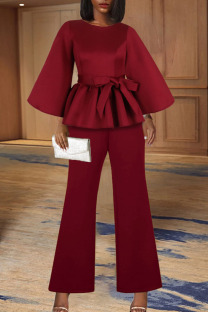 Burgundy Casual Elegant Solid Split Joint Flounce With Belt O Neck Nine Points Sleeve Two Pieces