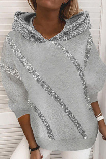 Grey Casual Street Split Joint  Sequins Hooded Collar Tops