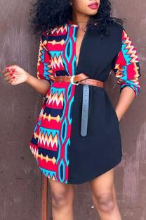 Red Casual Print Split Joint Zipper Mandarin Collar Shirt Dress Dresses(Without Belt)