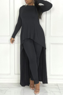Black Fashion Casual Solid Asymmetrical O Neck Long Sleeve Two Pieces