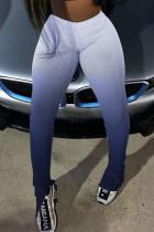 Blue Fashion Casual Gradual Change Print Slit Regular High Waist Pencil Trousers