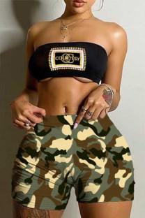 Black Fashion Casual Camouflage Print Basic Regular High Waist Shorts