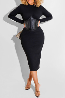 Black Sexy Solid Split Joint O Neck One Step Skirt Dresses