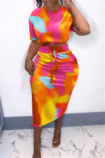 Colour Fashion Casual Print Tie Dye Slit O Neck Short Sleeve Two Pieces