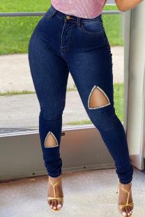 Deep Blue Fashion Casual Solid Ripped High Waist Regular Denim Jeans