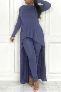 Blue Fashion Casual Solid Asymmetrical O Neck Long Sleeve Two Pieces