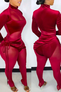 Red Sexy Solid Bandage Split Joint See-through Fold Asymmetrical Long Sleeve Two Pieces