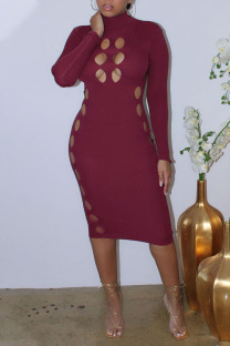 Burgundy Sexy Solid Hollowed Out Split Joint Turtleneck One Step Skirt Dresses