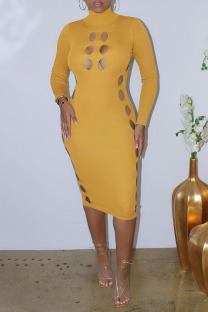 Yellow Sexy Solid Hollowed Out Split Joint Turtleneck One Step Skirt Dresses