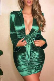 Green Fashion Casual Solid Fold Turndown Collar Long Sleeve Dresses