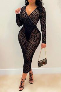 Black Fashion Sexy Striped See-through Slit V Neck Long Sleeve Dresses