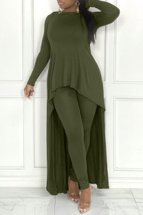 Army Green Casual Solid Split Joint Asymmetrical O Neck Long Sleeve Two Pieces