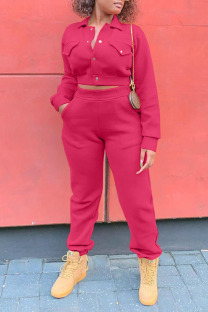 Rose Red Casual Solid Split Joint Pocket Buckle Turndown Collar Long Sleeve Two Pieces