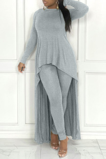 Grey Casual Solid Split Joint Asymmetrical O Neck Long Sleeve Two Pieces