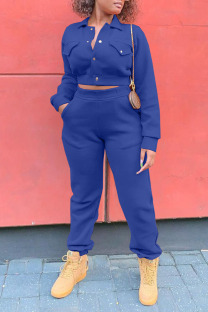 Blue Casual Solid Split Joint Pocket Buckle Turndown Collar Long Sleeve Two Pieces
