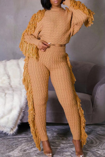 Apricot Casual Street Solid Tassel Split Joint O Neck Long Sleeve Two Pieces