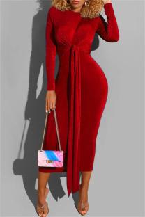 Red Fashion Casual Bandage O Neck Long Sleeve Dresses