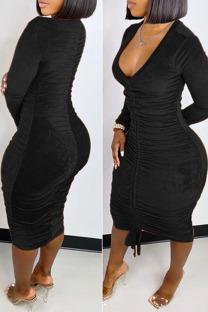 Black Sexy Solid Split Joint Draw String Fold V Neck One Step Skirt Dresses