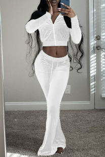White Casual Solid Split Joint Zipper Collar Long Sleeve Two Pieces