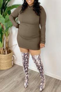 Dark Khaki Casual Solid Split Joint Turtleneck One Step Skirt Plus Size Dresses