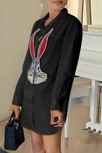 Black Fashion Casual Print Basic Turndown Collar Shirt Dress