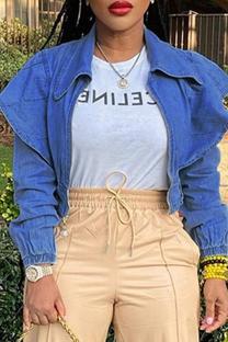 Blue Fashion Casual Solid Cardigan Turndown Collar Long Sleeve Denim Jacket