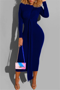 Deep Blue Fashion Casual Bandage O Neck Long Sleeve Dresses