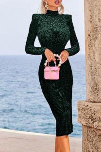 Green Celebrities Print Leopard Half A Turtleneck One Step Skirt Dresses
